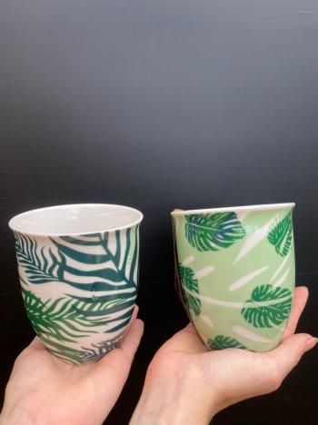 Vaso de cerâmica estampa floral