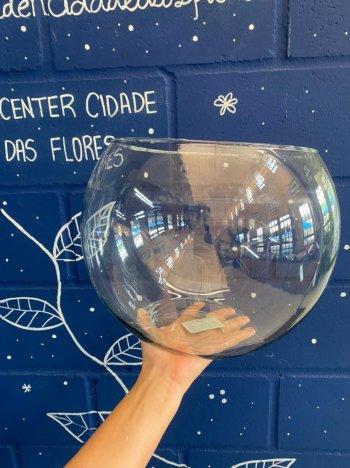 Vaso de vidro aquário redondo